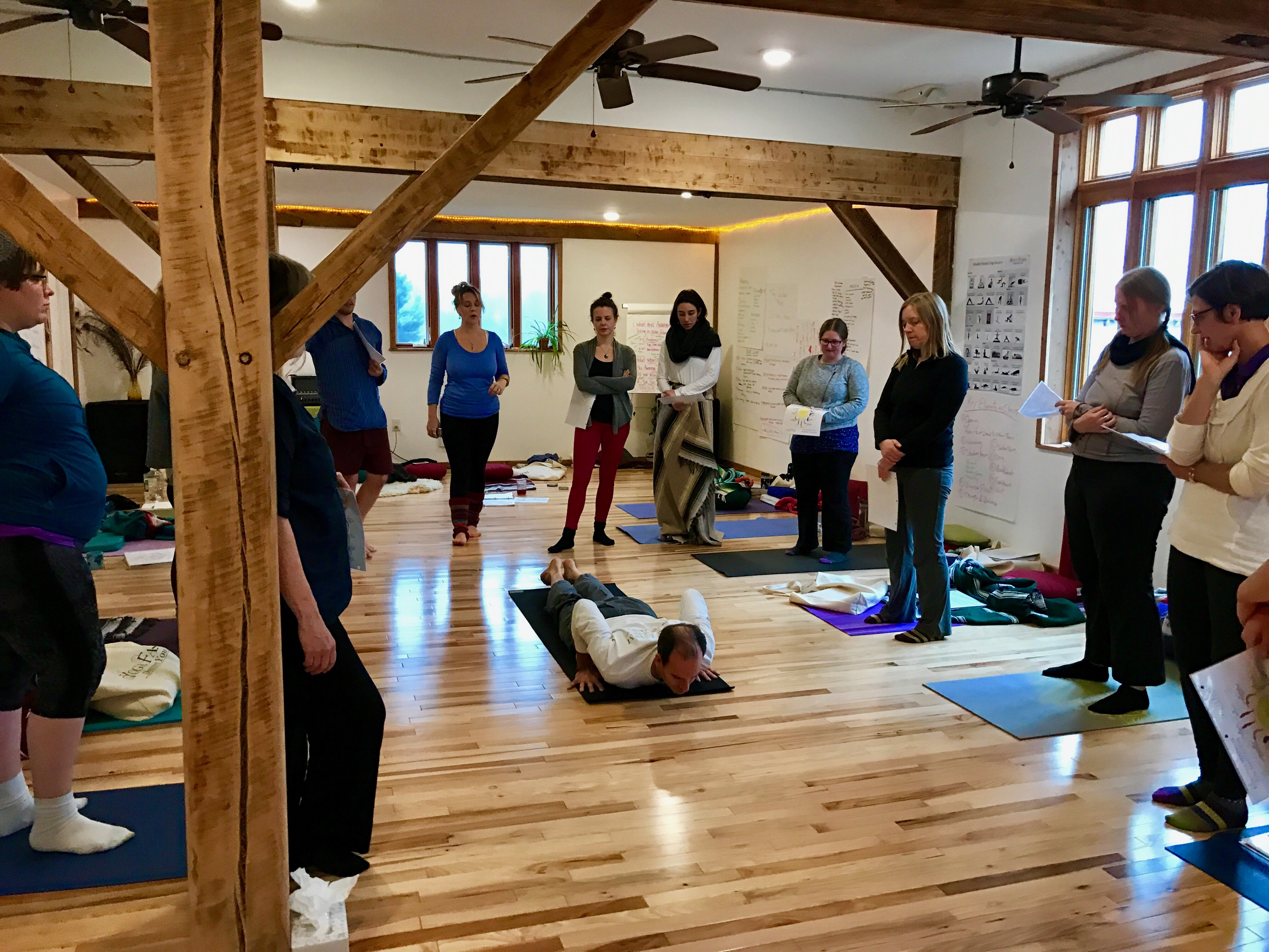 Learning how to lead sun salutations
